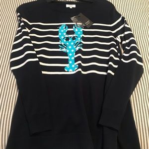 Crown & Ivy navy striped lobster sweater